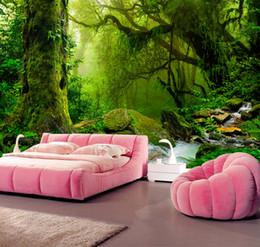 Vente en gros Personnalisé 3D Papier Peint Primitif Forêt Jungle Nature Paysage Arbre Peinture Murale Mur Moderne Murales Salon TV Fond Décoration