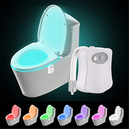 olorful Motion Sensor Toilet Night Light, Home Toilet Light Bathroom Human Body Auto Motion Activated Sensor Toilet Seat Lights Lamp 8-Color on Sale