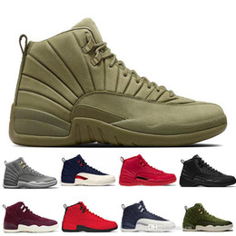 Wholesale pack man games resale online - 12 s Gym red WNTR mens Basketball shoes Michigan International Flight College Navy Flu Game Graduation Pack men sports sneakers designer