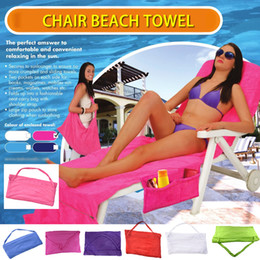 beach towels straps NZ - Beach Chair Towels With Pocket Strap Blanket Portable Quick-Dry Microfiber Double Layers Beach Chair Cover Sunbathe Lounger Mate Bed covers