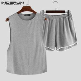 Wholesale men s sexy summer pajamas for sale - Group buy INCERUN Fashion Men Pajamas Sets Sleeveless O Neck Tank Tops Shorts Solid Summer Homewear Casual Sexy Sleepwear Sets S XL