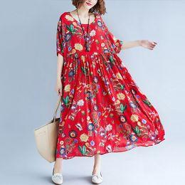 $enCountryForm.capitalKeyWord Australia - Women Summer Dress Plus Size Print Floral Femme Lady Elegant Vintage Vestidos Oversized Loose Holiday Long Dresses