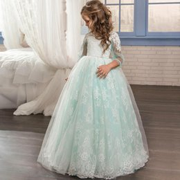 $enCountryForm.capitalKeyWord Australia - Flower Girl Dresses Formal Appliques O-neck Long Sleeves Ball Gown Sheer Lace First Communion Gown Pageant Dresses