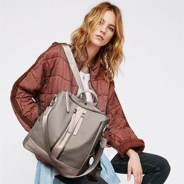 Wool Cloth Soft Australia - Women Backpack Double Shoulder Bag Oxford Cloth Headphone Jack Backpack Stylish Solid Color & can print logo .214 #274593