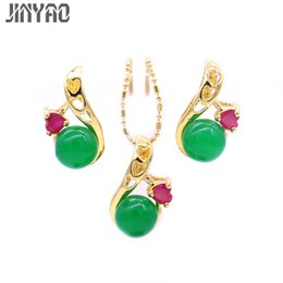 1f7471507319 JINYAO Fashion Pure Gold Color Green Stone Heart Red Zircon Necklace  Pendant Earrings Sets For Women pendientes indian Jewelry
