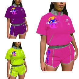 T Shirts Collar Wholesale NZ - Champion Summer Women Two Piece Set Designer Tracksuit Short Sleeve Stand Zip Collar Crop Top T-shirt and Biker Shorts Brand Outfit C6303