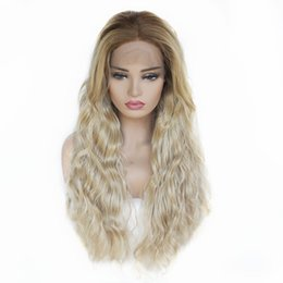 $enCountryForm.capitalKeyWord Australia - Good Quality 24inch Blonde Lace Front Wig Ombre Dark Roots Women's Hair Synthetic Long Wavy Wigs with Baby Hair Heat Resistant Real Pictures