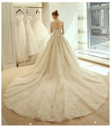 $enCountryForm.capitalKeyWord NZ - 2019 Elegant A-Line Appliques Long Sleeves Wedding Dresses Scoop Open Back With Lace Up For Bridal Customized Long Tulle Bridal Gowns