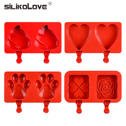 $enCountryForm.capitalKeyWord Australia - Cartoon Ice Cream Popsicle Molds Silicone Frozen Ice Lolly Maker Holder With Sticks Children Pop Mould Lolly Tray Mould