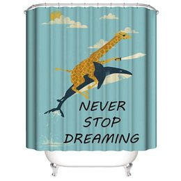 hooks for shower curtain Canada - Funny Gifts for Kids Giraffe riding on a shark 3D Digital Printing Printed Waterproof Bathroom Window Shower Curtains With Rings Hooks
