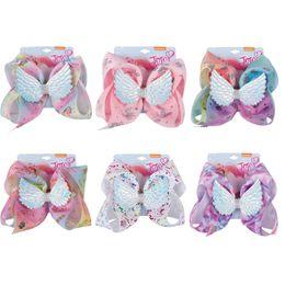 "$enCountryForm.capitalKeyWord NZ - 8"" Unicorn Party Hair Bows For Girls JOJO Bows With Wings Rhinestone Hair Clip Handmade Ribbon Boutique Kids Hair Accessories Birthday Gift"