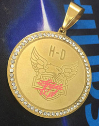 $enCountryForm.capitalKeyWord Australia - 18K GOLD plated big heavy motorcyle gemstone biker harley stainless steel pendant men.s necklaces. hip hop jewelry
