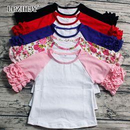 Half Children Shirts Australia - 1-7T baby girls summer tops half sleeve icing t shirt o neck ruffle tee for children