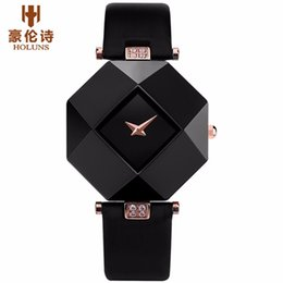 c1ec3e2889be HOLUNS Brand Luxury Leather Watches Women Creative Ceramic Diamond Dial  Fashion Casual Genuine Elegant Ladies Quartz Wrist Watch C19010301