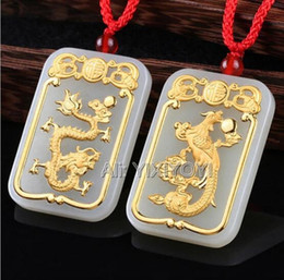 white jade phoenix Australia - Natural White Hetian Jade + 18K Solid Gold Chinese Dragon Phoenix Pairs Amulet Lucky Pendant + Free Necklace Jewelry Certificate