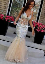 crystal champagne open back prom dress Canada - Luxury Rhinestone Bodice Prom Dresses 2020 Crystal Long Floor Open Back V-Neck Floor Length Sexy Tulle Mermiad Evening Gowns