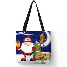$enCountryForm.capitalKeyWord Australia - Customized Father Christmas Print Linen Bag Snowman Deer Xmas Gifts Pattern Reusable Shopping Bag Candy Bags Women Casual Totes