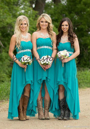 short low wedding gowns UK - Turquoise Bridesmaids Dresses Short Hi Low Boho Bridesmaid Dress Cheap Sweetheart Chiffon Beach Wedding Guest Skirts 2020 Maid Of Honor Gown