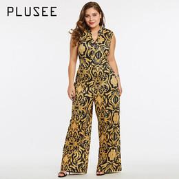 Plus Size Dresses Jumpsuits Australia - Plusee Jumpsuit Plus Size 4xl 5xl Women 2017 Golden Slim Wide Legs Geometric Color Block Button Pocket Print Plus Size Jumpsuit Y19060501