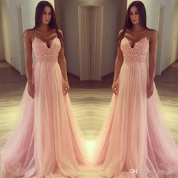 pink tulle strapped dress Australia - 2020 Beautiful Pink Cheap Evening Dresses Spaghetti Straps Lace Appliques A Line Tulle Prom Gowns Formal Party Wear