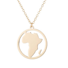 """Rose Contracting NZ - """"Stainless Steel Pendant Brass Chain Necklace Charm Women Choker Jewelry Collier Contracted circle African landscape Necklaces NYX-16"""""""