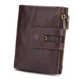 block wallet UK - RFID Blocking Genuine Leather Wallet Double Zipper Ttri-fold Biflod Clutch Purse Men's short soft face wallet oil wax skin Biflod Checkbook
