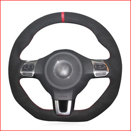 Discount vw golf r wheels Black Suede Hand Sew Steering Wheel Cover for Volkswagen Golf 6 GTI MK6 VW Polo GTI Scirocco R Passat CC R-Line 2010 Accessories