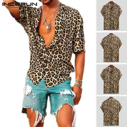 Wholesale streetwear leopard for sale – plus size Summer Short Sleeve Leopard Print Shirt Men Lapel Neck Loose Button Up Blouse Breathable Streetwear Sexy Shirts Men