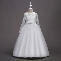 Discount beautiful full length dresses - Full Sleeve Children Bridesmaid Long Dress Formal Flower Beautiful Princess Communion Dresses for Girls 2019