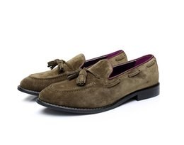 man italy shoes UK - Vintage flats shoes men slip on summer moccasins italy style suede tassels genuine leather loafers casual Moccasin Gommino