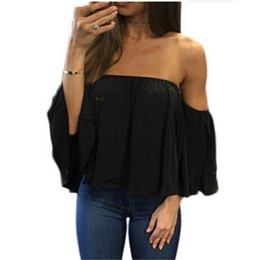 womens gold blouse Canada - 5XL New Womens Tops Fashion 2020 Women Summer Chiffon Blouse Sexy Off Shoulder Flare Sleeve Casual Shirt Black White Plus Size