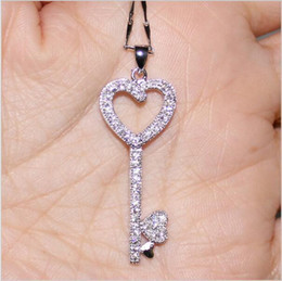 $enCountryForm.capitalKeyWord Australia - Hotstone88 Hotstone88 Sparkling Lady's 925 Silver Filled White Simulated Diamond CZ Pave Set Heart Shape Key Pendant Necklace