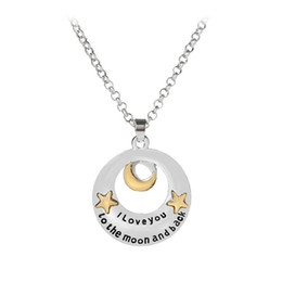 Pendant Backs Australia - I Love you to the Moon and Back Necklace Gold Star Moon Charm Pendants fashion Lovers Jewelry Gift DROP SHIP 162346