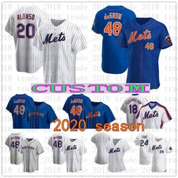 Discount custom baseball jerseys women - custom new 2020 york Mets Jersey Pete Alonso Robinson Cano Jacob deGrom Men Women Youth any name any number 100% Stitche