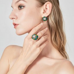 Discount earring design patterns - Nandudu Color Glazed Decoration Ethnic Design Flower Jewelry Sets Enamel Ring and Earrings Sets Pattern Women Girl Acces