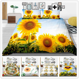 black flower comforter Australia - Customizable Bedding Set Twin Full Queen Size Comforter Cover with Sun Flowers for Home Textile Soft of Bedding Supplies