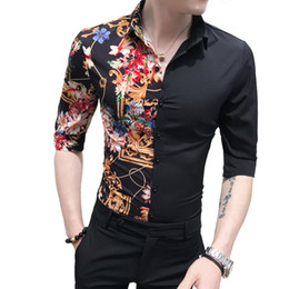 $enCountryForm.capitalKeyWord Australia - Men Designs Cotton Patchwork Print Casual Shirts Fit Tuxedo Summer Clothes Half Sleeve Shirt Vintage Club Retro Black Shirts