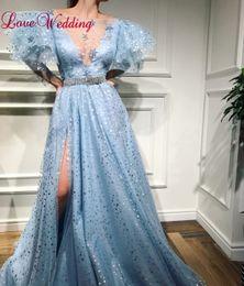 $enCountryForm.capitalKeyWord Australia - Hot Sale 2018 Sexy V Neck Short Bell Sleeves Custom made A Line Shiny Formal Evening Dresses Party Women Gown