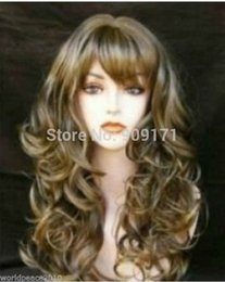 $enCountryForm.capitalKeyWord Australia - free Shipping ** NEW brown & gold mixed long curly cosplay wig Lady Girls Cosplay Peluca Products WIGS