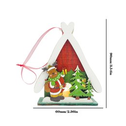 cabin paintings Australia - Wooden Painted Christmas Little Led House Creative Xmas Home Desktop Ornaments Cabin Light Christmas Tree Pendant