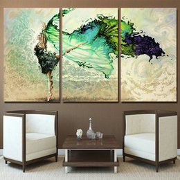 $enCountryForm.capitalKeyWord Australia - Wall Art Posters Modular Frame HD Printed Pictures 3 Pieces Home Decor Green Ballerina Girl Butterfly Dancing Canvas Paintings