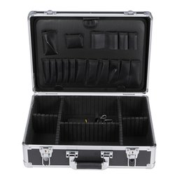 Wholesale lightweight Portable Aluminum Frame Tool Box Storage Case Handheld Organizer Carrying Case Hair Cutting Shears Clipper box