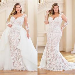 Modestos Plus Size Vestidos de casamento da sereia com trem destacável manga comprida completa Lace Appliqued nupcial Vestido V Neck Vestidos de casamento em Promoção