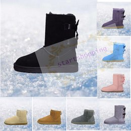 spring fall canvas shoes Australia - 2019 Snow Winter Leather Women Australia Classic kneel half Boots Ankle boots Black Grey chestnut navy blue red Womens shoes