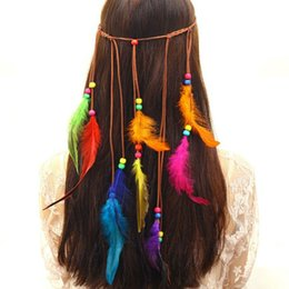 wholesale hippie headbands Australia - New Women Bohemian Hippie Headband Dream Catcher Feather Headdress Fashion Peacock Feather Headbands handmade Hair Accessories