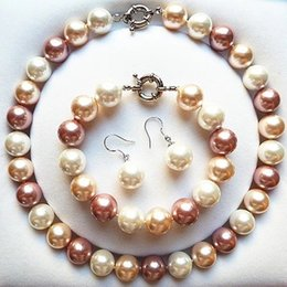 $enCountryForm.capitalKeyWord Australia - Jewelry Set white pink Genuine 10mm South Sea Shell Pearl Necklace Bracelet Earrings Beads women Jewelry set 925 silver clasp