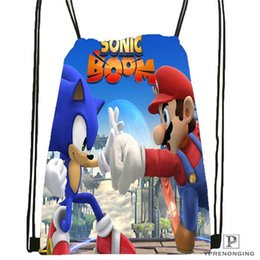 Backpack Kids Leather Satchel Bag Australia - Custom Sonic-The-Hedgehog- Drawstring Backpack Bag Cute Daypack Kids Satchel (Black Back) 31x40cm#2018611-2(14) #523114