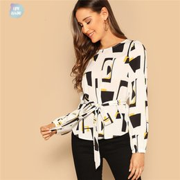 boat neck blouses NZ - Spring Blouses Belted Print Boat Neck Long Sleeve Top Women 2019 Self Black And White Office Sleeveless Ladies Tops And