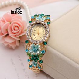 vintage brand watch 2019 - Hesiod New Women Dress Watches Quartz Wrist Watch Crystal Flower Vintage Bracelet Gold Watches Luxury Drill Women Top Br