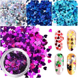 decor glitter Australia - 12 Boxes set Holographic Nail Glitter Mix Star Round Heart Flakes Mermaid Mirror Irregular Paillette DIY Sequins Nail Art Decor